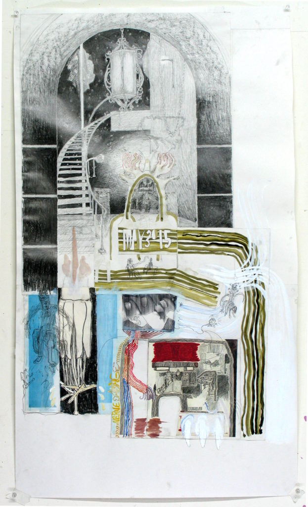 stairway, gouache, pencil, mixed media on paper (2015)