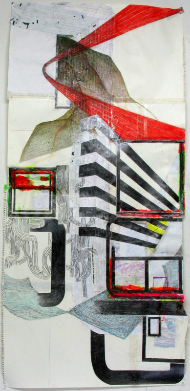 landscape, 32'' by 72'', paint, pencil, collage on paper (2017)